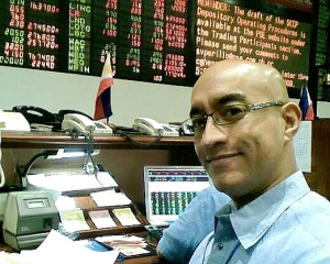 Greetings from the First Board, Makati trading floor, Philippine Stock Exchange